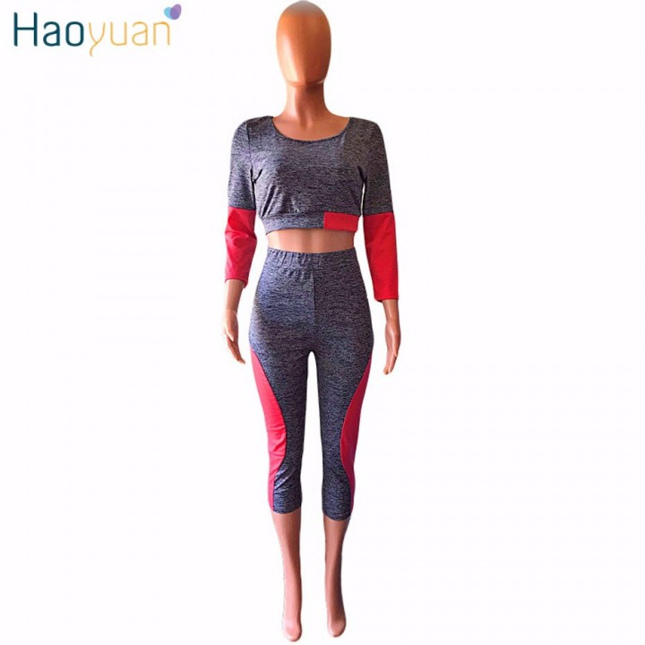 b28b71bc2fcb4 Casual Tracksuit Women Clothing Two Piece Set Bodycon Tops and Pants Suits  Fall Fashion Color Blo