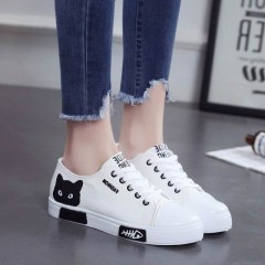 CAT Women Flat Cartoon Canvas Shoes 2018 New Summer White Lace Up Student Board Shoes Ladies Casu