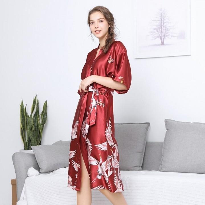 75c3c6c7c8 Sleepwear Robe Women Bathrobe Print Silk Dress Elegant Satin Robe Sexy  Peignoir Dressing Gowns fo