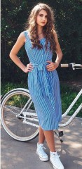 Striped Dress Bow Bandage Sexy Summer Off Shoulder Women Vintage Party Dresses Single-Breasted Mi