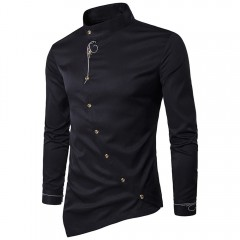 Men Shirts Mens Casual Irregular Silm Fit Daily Long Sleeve Shirt Blouse Tops Embroidery shirt  2