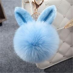 Fur Pom Pom Keychains Fake Rabbit fur ball key chain porte clef pompom de fourrure fluffy Bag Cha