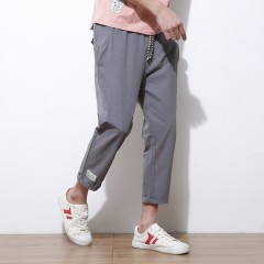 Fashion Trousers Fit Drawstring Lightweigh Mid Linen Pants Summer Youth Ankle-Length Pants Casual