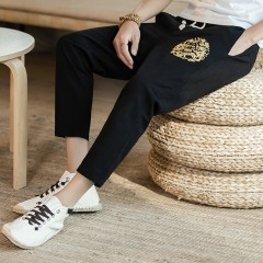 New Embroidery Haren Cotton and linen Large size M-5XL Loose Casual mens pants Personality Fashio