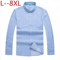 8xl Striped Casual Men Long Sleeve Shirt Stitching Fashion Pocket Design Fabric Soft Comfortable