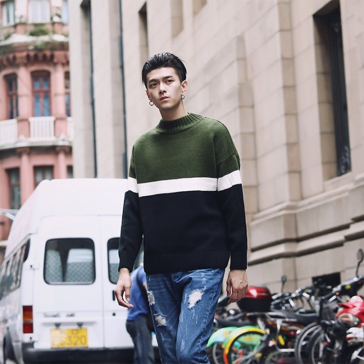 Knit Sweater Korean Men Fashion Clothing Mens Pullover Sweaters