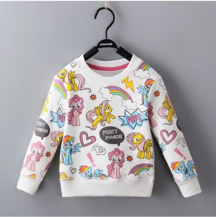 Winter Girls T Shirt Rainbow Pony Print Long Sleeve Baby Girls Clothes Brand Cute Girl Shirt Unic