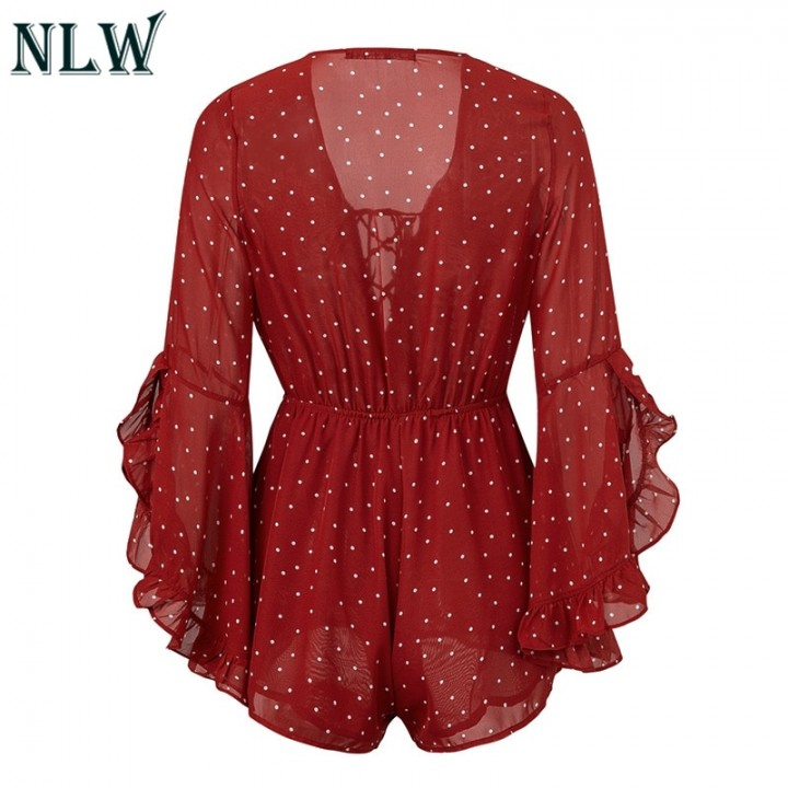 ad15db684358 Lace Up FLare Long Sleeve Chiffon Romper Wine Red Sexy Boho Beach Playsuit Lace  Up Polka