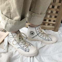 Casual Shoes 2018 New Fashion Women High Top Canvas Sneakers Shoes Womens  Ankle Lace Up Flats La