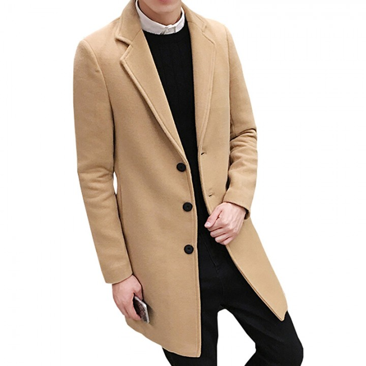 2dead801eb00 New Winter Wool Coat Men Leisure Long Sections Woolen Coats Mens Pure Color Casual  Fashion Jacket