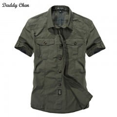 Solid Color Cotton Mens Shirts Short Sleeve Turn-down Collar Army Green Khaki Men Tops Casual Mal