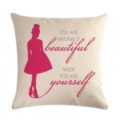 Cushion Cover Letter Ballet Girl for Sofa Home Decorative Throw Pillow Case Cotton Linen Couple P