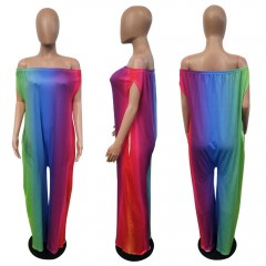 Off The Shoulder Rompers Womens Jumpsuit Rainbow Printed Wide Leg Pants Playsuit Loose Casual Bea