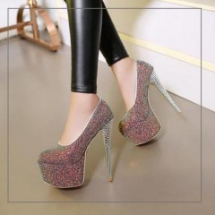 Womens 16 CM Stilettos High Heel Sequins Bling Platform Shoes Pumps Nightclubs Plus Size Sexy Assorted 35
