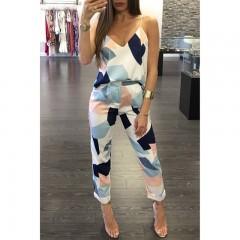 ladies fashion Printed set Deep V-neck sleeveless camis tops long Pants Casual summer Two Piece O