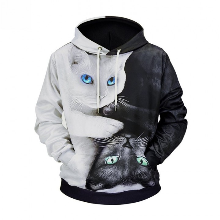 42a80875e7d 2018 newest high quality black and white cat 3D printed mens hooded hoodies  drawstring plus size