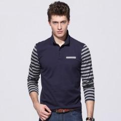 spring polo men shirt long sleeve cotton Breathable fashion Slim striped polo men shirts brand cl