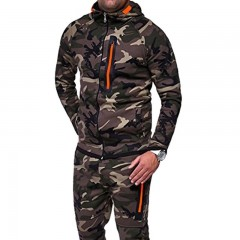 Men Jacket Set 2018 Camouflage Print 2Pc Sportwear Mens Tracksuit Autumn Zipper Cardigan Hoodie C