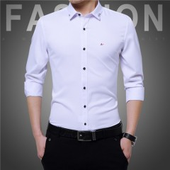 Top MenS Clothing Brand 2017 Fashion Male Shirt Long-Sleeves Tops Simple Solid Color Mens Dress S ssdc-1701-BAI Asian size M