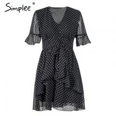 V neck dot summer short dress women 2018 Ruffle half sleeve vintage mini dress Bow high waist bla