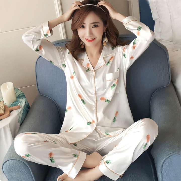 457baf43a Nightwear Autumn Women Pyjamas Silk Long Tops Set Female Pajamas Set  NightSuit Sleepwear Sets Lon XL