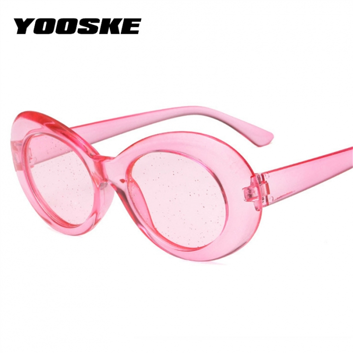 b940e8ac7778f Men NIRVANA Kurt Cobain Sunglasses Women Oval Clout Goggles Glasses Female  Male Glitter Clear Len Clear