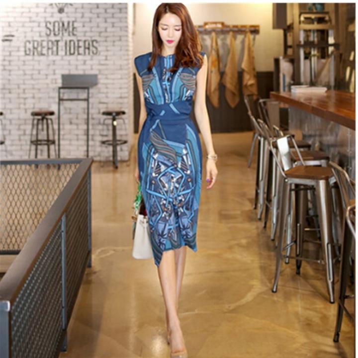 57322bb9c Korean Dress Summer Womens Elegant Slim Work Wear Office Business printing  Casual Bodycon Dress M Photo