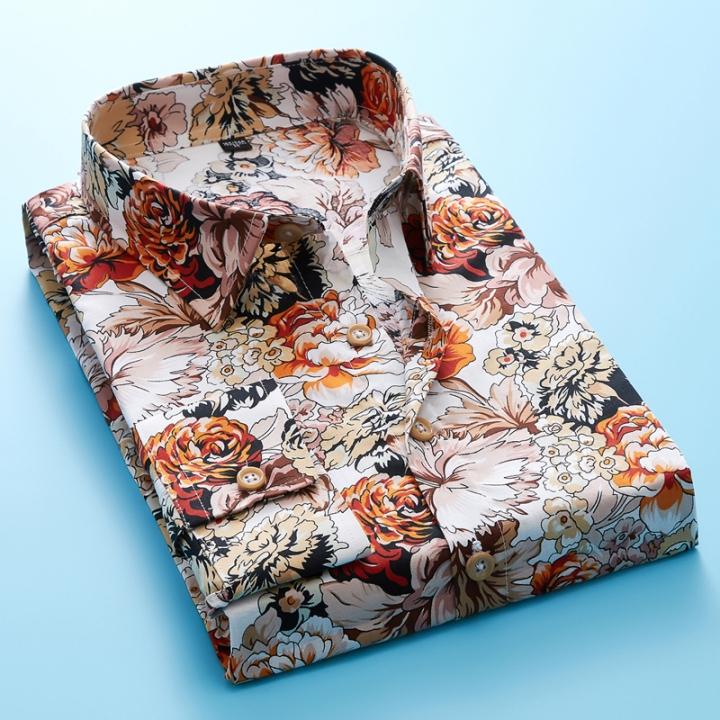 a3a8b20b SHIRTS 2018 Retro Floral Printed Men Casual Shirts Classic Men Dress Shirt  Mens Long Sleeve Brand