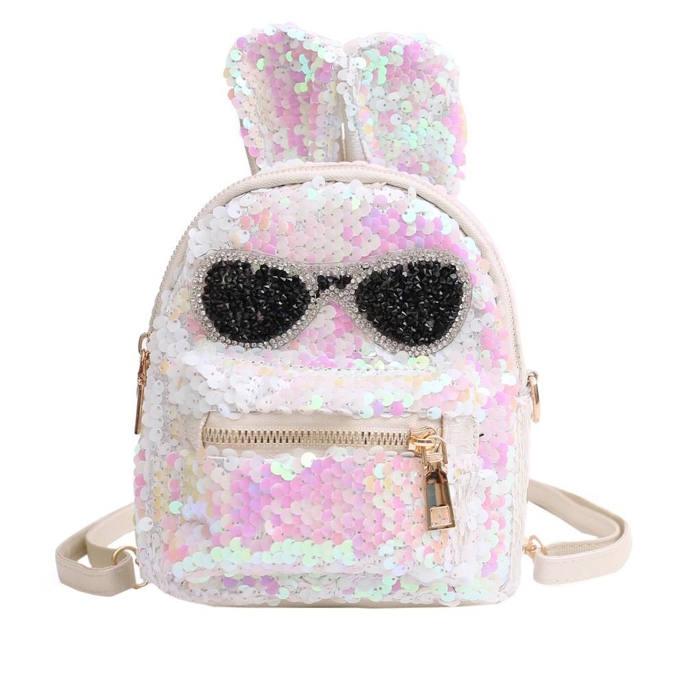da6db2805933 Bling Sequins Backpack Cute Big Rabbit Ears Double Shoulder Bag Women Mini  Backpacks Children Gir