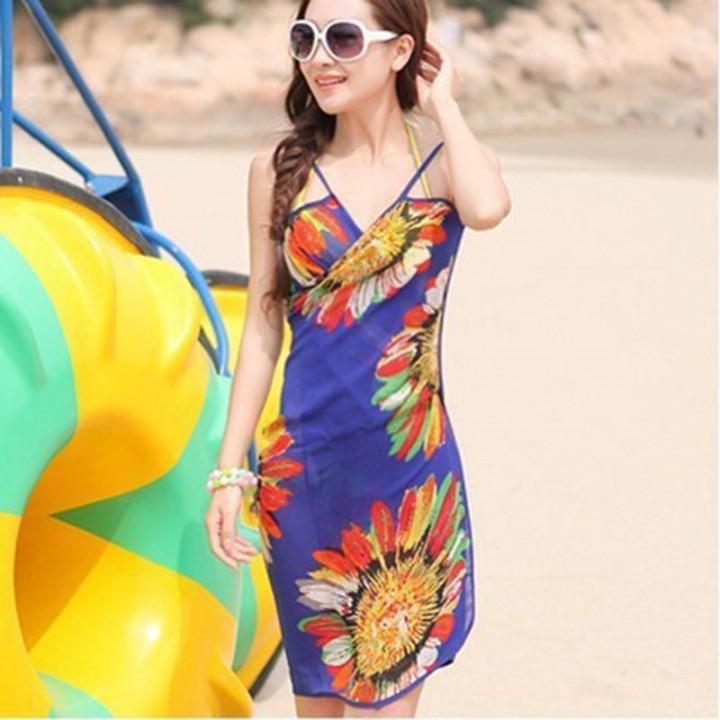 5fd3eaa1f5 Women Ladies Mini print floral Playsuit Summer Beach Sexy Cover Up Scarf  Chiffon Romper Cover-