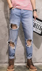 Jean Ankle-Length Hole Retro Bleached Washed Casual Solid Men Denim Jeans Distressed Vintage Loos