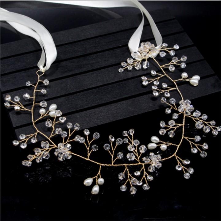 Women Crystal Pearl Hair Vine Headband Bridle Pearl Crystal Wedding
