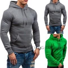 Men Pullover Hooded Sweartshirts Hoodies Tee Sweatshirt Heavy Casual Muscle Solid Long Sleeve Clo