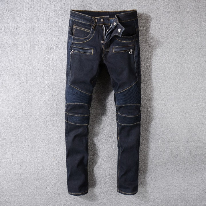 6c66374134b Streetwear Black Blue Color Mens Jeans Spliced Elastic Slim Fit Classical  Cargo Pants Men Hip Hop