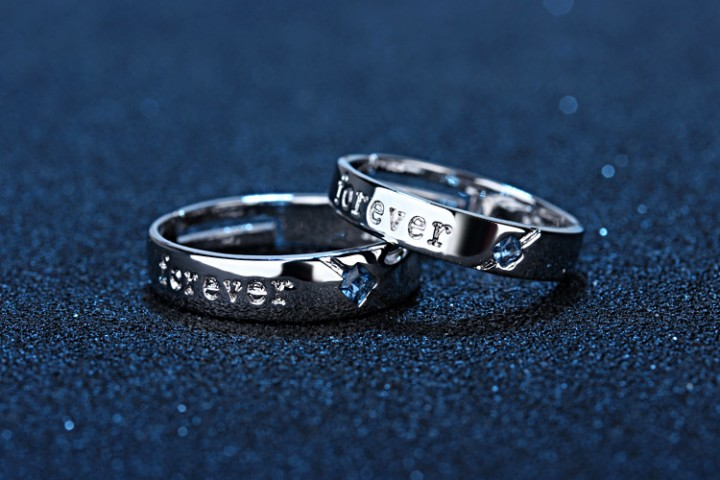 Blue Color Crystal Couple Rings Set for Lovers Wedding Ajustable 2 Pcs Men and Women  Valentines