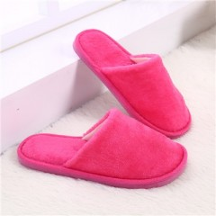 Indoor House Slipper Soft Plush Cotton Cute Slippers Shoes Non-Slip Floor Home Furry Slippers Wom Rosy Red 8