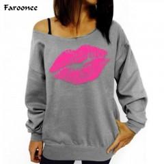 Sexy Red Big Lips Printed Women Sweatshirts Off Shoulder Long-Sleeved Pullovers Hoodies Outwear T