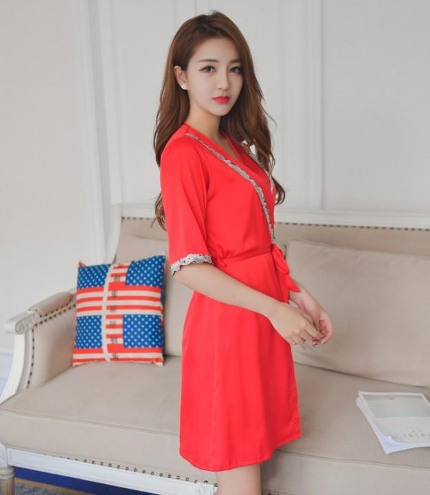 7aecbe3aa7 Robe Femme Sexy Lace Sleepwear Night Dress Home Clothing Robes Women Half  Sleeve Nightwear Robe S