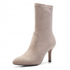 Women Fashion Mid-calf Boots High Heel Shoes Woman Pointed Toe Footwear Female Faux Suede Slim Bo