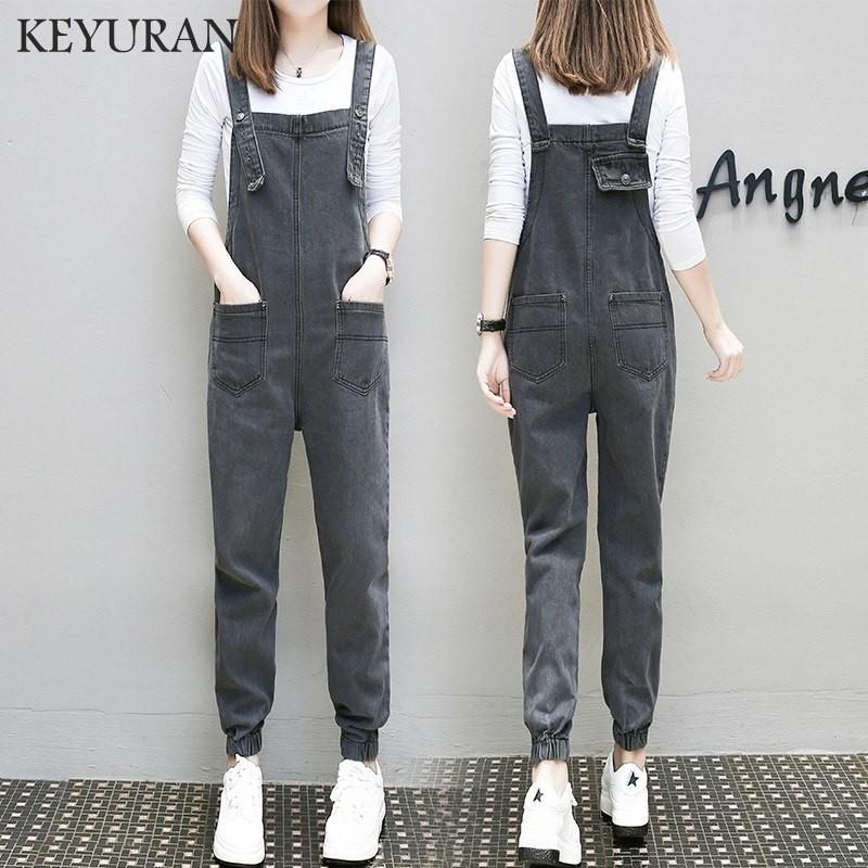3e29189a0b9 New Autumn Fashion Black Denim jumpsuits Women Long Loose Pockets ...
