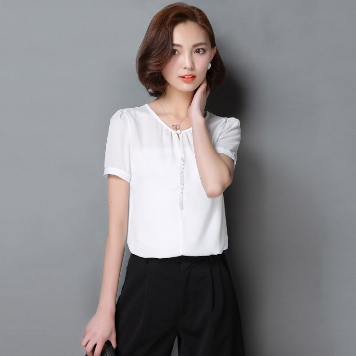 575167c7030cda Tops Chiffon Womens Tops and Blouses Short Sleeve Casual Shirts Elegant  Button Blouse Women White