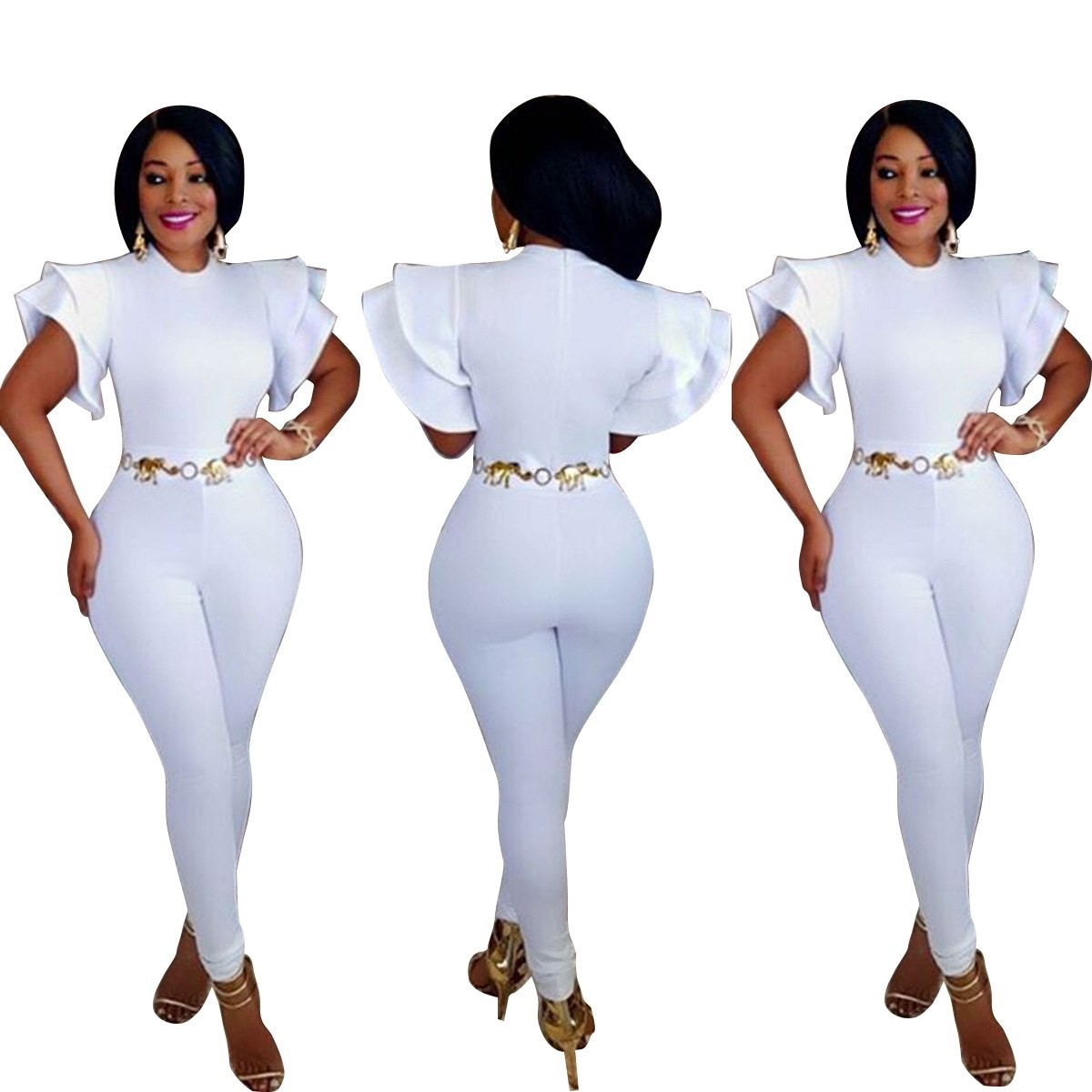 f139acf074d Item specifics  Seller SKU FEfNycShcPk  Brand  White Women Eelegant Jumpsuits  Ruffle Sleeves Bodycon Sexy Full Bodysuit Summer Overalls ...