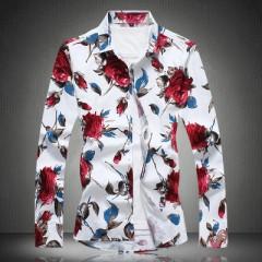 Shirt Men 2018 Brand Clothing Slim Fit Men Floral Shirts Plus Size Turn Down Collar Long Sleeve M
