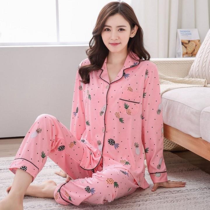 9e1c7609b4 Size 100% Cotton Pajama Sets for Women 2018 Autumn Winter Soft Comfortable Long  Sleeve Pyjama