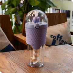 Fitness Water Bottle Portable Leakproof Heat Straw Single Layer Plastic Protein Powder Stir Outdo