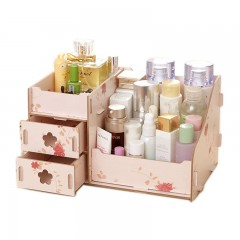 Makeup Cosmetics Storage Box Wooden DIY Cosmetic Boxes Drawer 3 Layers Office Organizer flower