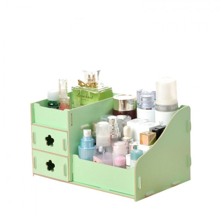 Makeup Cosmetics Storage Box Wooden DIY Cosmetic Boxes Drawer 3 Layers Office Organizer Green