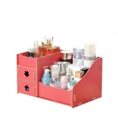 Makeup Cosmetics Storage Box Wooden DIY Cosmetic Boxes Drawer 3 Layers Office Organizer Red