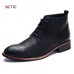 Vintage Winter Leather Mens Boots High Top Casual Brogue Shoes Outdoor Lace Up Work Boots Platfor