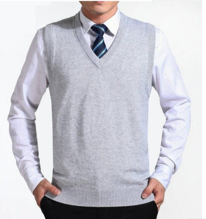 Kilimall New Arrival Casual Solid Color Sweater Vest Men Cashmere